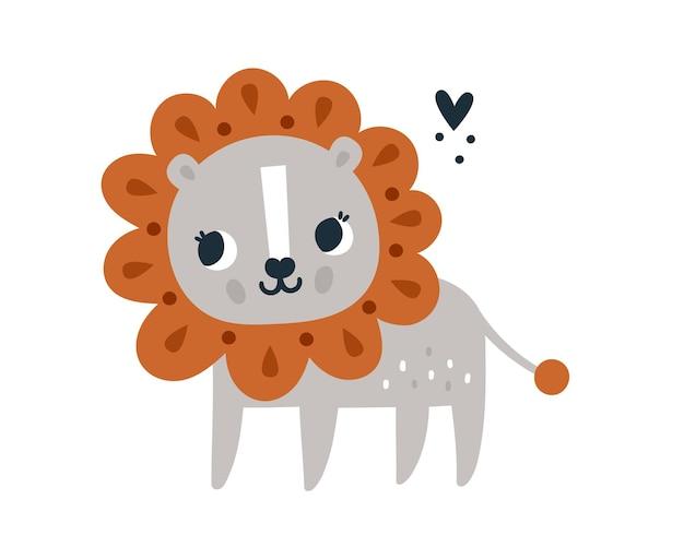 Śliczny śliczny lwiątko w skandynawskim stylu mały nadruk z rykiem dla dzieci