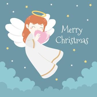 Śliczny słodki anioł bożonarodzeniowy na niebie z miłością