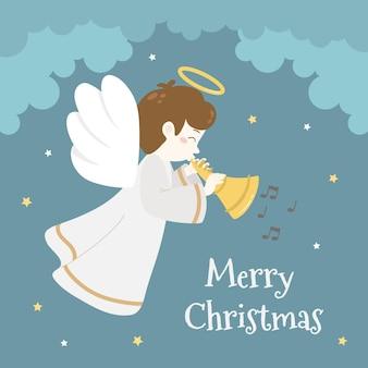 Śliczny słodki anioł bożonarodzeniowy na niebie z trąbką