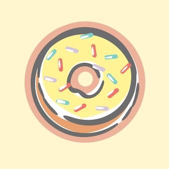 Śliczny słodki żółty waniliowy pączek z rysunkami z posypką