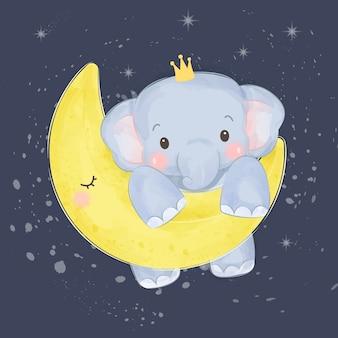 Śliczny słoń bawić się z księżyc