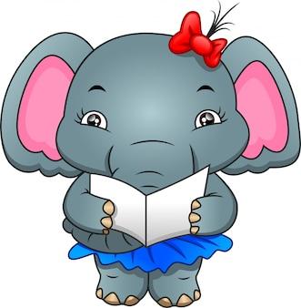 Śliczny słoń czyta list