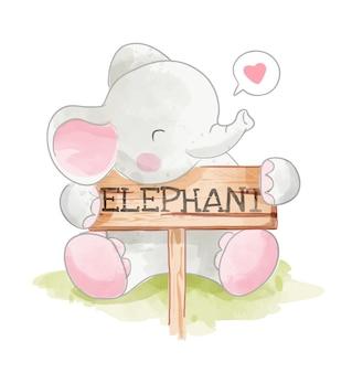 Śliczny słoń hoding słonia drewna znaka ilustrację