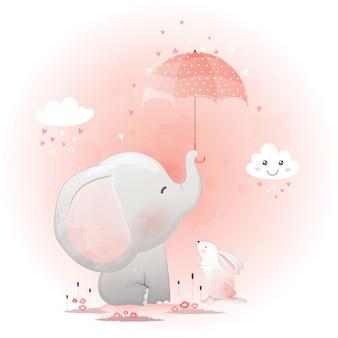 Śliczny słoń i królik z parasolem.
