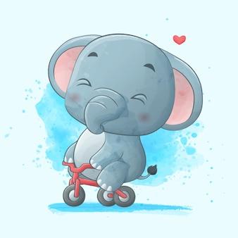 Śliczny słoń jedzie bicykl. akwarela ilustracja.