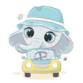 Śliczny słoń jedzie samochód.