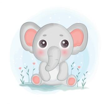 Śliczny słoń siedzi w ogrodzie w stylu akwareli.