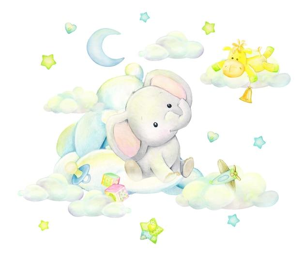 Śliczny słoń śpi w chmurach, na tle księżyca, motyli, gwiazd, w kreskówkowym stylu. akwarela clip art na na białym tle.