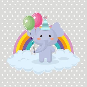 Śliczny słoń z balonów lotniczej strony uroczą kawaii urodzinową kartą