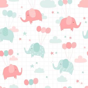 Śliczny słoń z balonowej kreskówki doodle bezszwowym wzorem