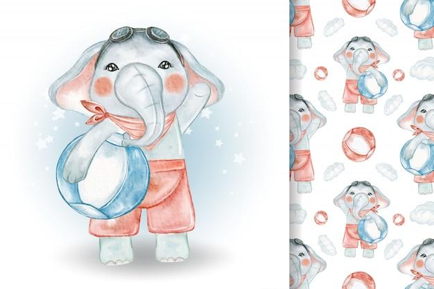 Śliczny słoń z piłką plaży akwarela ilustracja i wzór