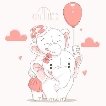 Śliczny słonia dziecko z jego mamy kreskówką