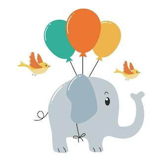 Śliczny słonia latanie z balonem i ptakami