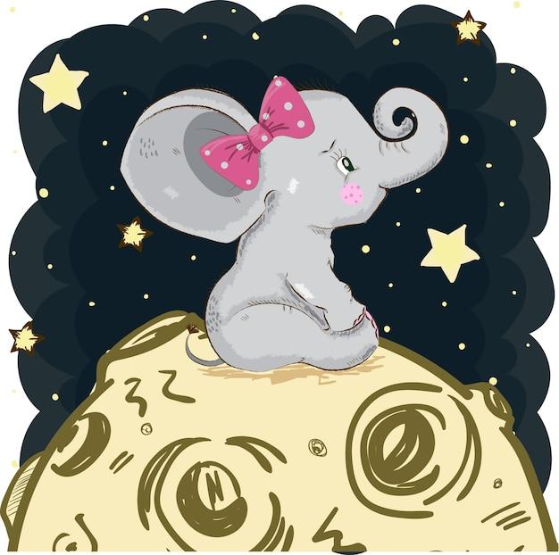 Śliczny słonia obsiadanie na księżyc kreskówce wręcza patroszonego.