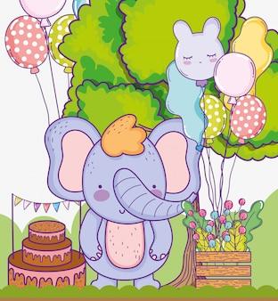 Śliczny słonia wszystkiego najlepszego z tort urodzinowymi balonami