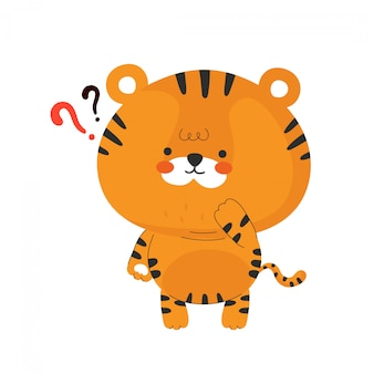 Śliczny śmieszny mały tygrys. postać z kreskówki ilustracyjny ikona projekt. odosobniony