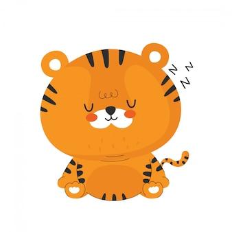 Śliczny śmieszny sen mały tygrys. postać z kreskówki ilustracyjny ikona projekt. odosobniony