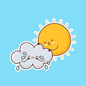 Śliczny śmieszny słońce ściska płacz chmurę. postać z kreskówki ikony ilustracyjny projekt