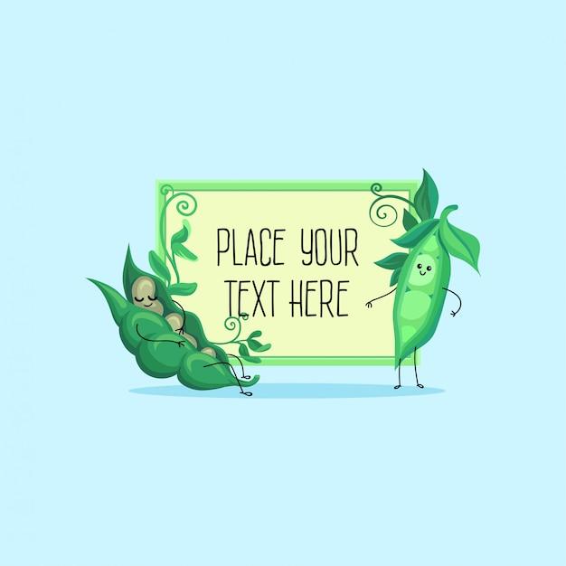 Śliczny śmieszny strąk zielonego groszku i fasoli postać z kreskówki hoding sztandar z przestrzenią dla twój tekst ilustraci