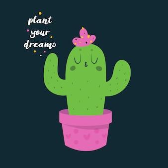 Śliczny śmieszny szczęśliwy kaktus w menchiach puszkuje z sercami.
