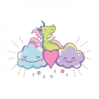 Śliczny smok na chmura kreskówkach