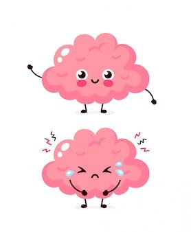 Śliczny smutny niezdrowy chory i silny zdrowy uśmiechnięty szczęśliwy mózg.