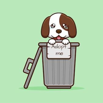 Śliczny smutny pies w śmietniku ze znakiem, który pisze zaadoptuj mnie kreskówką na jasnozielonym tle