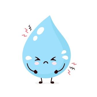 Śliczny smutny płacz kropli wody