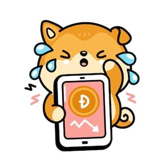 Śliczny smutny płacz psa akita inu z dogecoin w dół wykresu w postaci smartfona