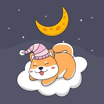 Śliczny śpiący pies shiba inu na chmurze