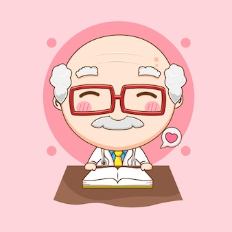 Śliczny stary lekarz czyta ab książkę chibi ilustracja postaci