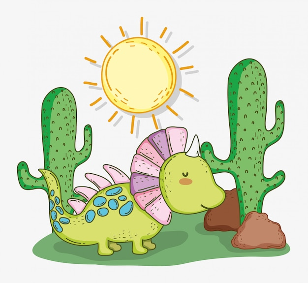 Śliczny styracosaurus zwierzę z kaktusem i słońcem