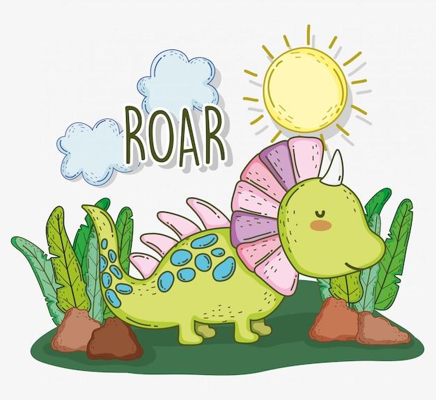 Śliczny styracosaurus zwierzę z słońcem i chmurami