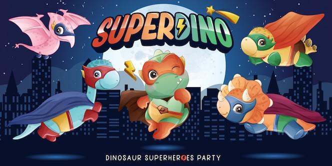 Śliczny super dinozaur z akwarelą ilustracji