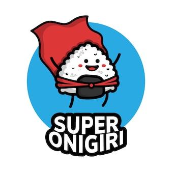 Śliczny super onigiri bohater ikona ilustracja kreskówka