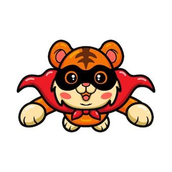 Śliczny superbohater tygrys kreskówka latający