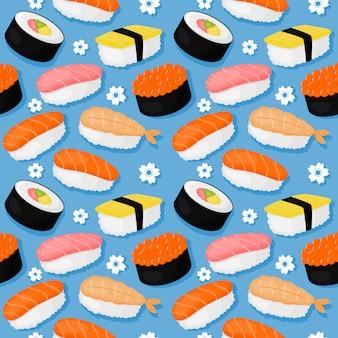 Śliczny suszi i rolek bezszwowy wzór. japońskie jedzenie