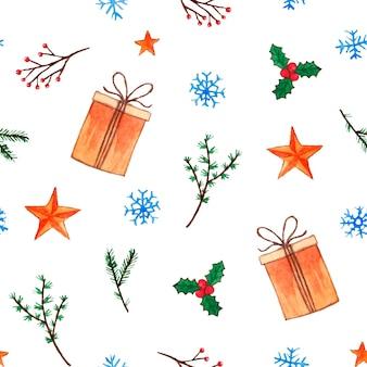 Śliczny świąteczny wzór z pudełkami na prezenty i gałązkami