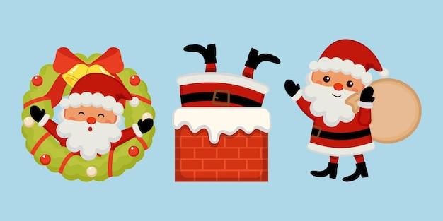 Śliczny świąteczny zestaw clipartów świętego mikołaja