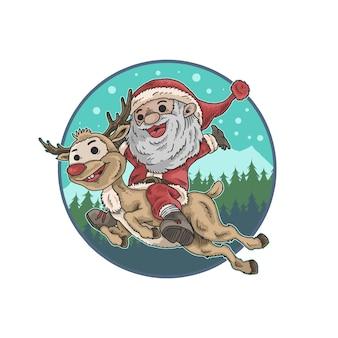 Śliczny święty mikołaj i jelenia ilustracyjny wektor