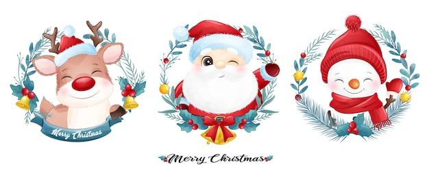 Śliczny święty mikołaj i przyjaciele na boże narodzenie z banerem akwarela