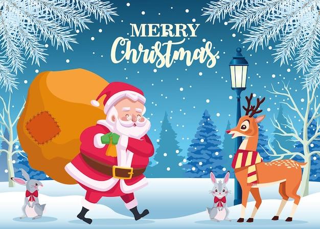 Śliczny święty mikołaj i zwierzęta z torbą na prezenty w ilustracji snowscape