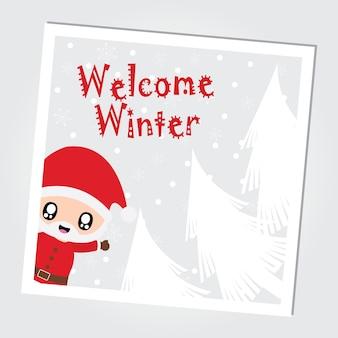 Śliczny święty mikołaj mówi cześć na śnieżnym spadku