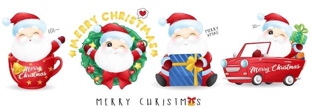 Śliczny święty Mikołaj Na Zestaw Ilustracji Wesołych świąt Premium Wektorów