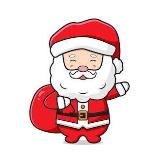 Śliczny święty mikołaj niosący worek prezentów wesołych świąt kreskówka doodle ikona ilustracja