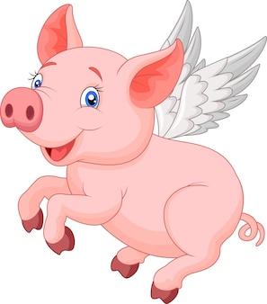 Śliczny świniowaty kreskówki latanie