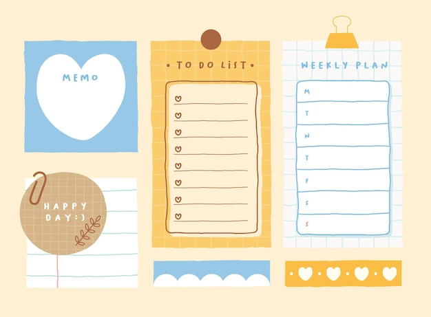 Śliczny szablon notatki zbiór notatek w paski, pustych zeszytów i podartych notatek używanych w pamiętniku lub biurze