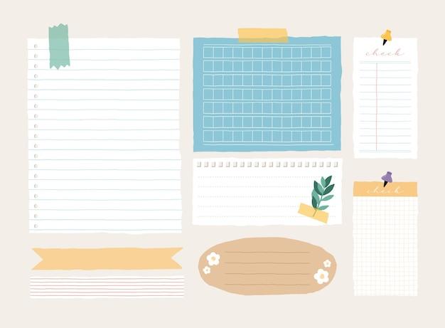 Śliczny Szablon Notatki Zbiór Notatek W Paski, Pustych Zeszytów I Podartych Notatek Używanych W Pamiętniku Lub Biurze Premium Wektorów