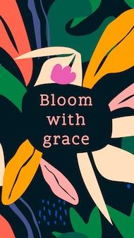 Śliczny szablon opowieści w mediach społecznościowych, edytowalny projekt botaniczny, kwitnący wektor łaski
