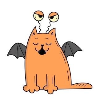 Śliczny szary kot przebrany za przerażającego potwora na halloween. ilustracja w stylu doodle